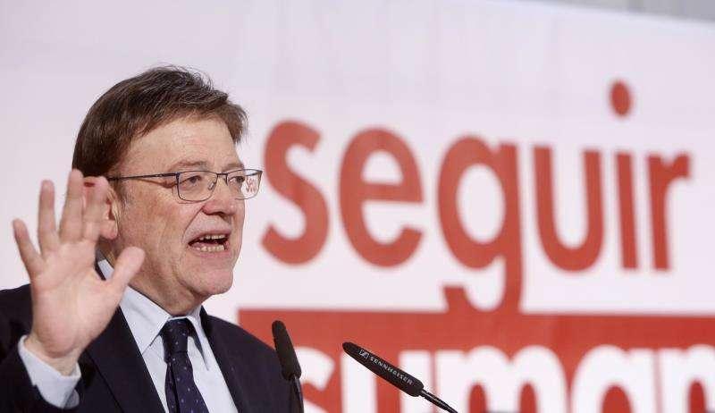 Imagen facilitada por el PSPV de su secretario general, Ximo Puig, en el acto del partido. EFE