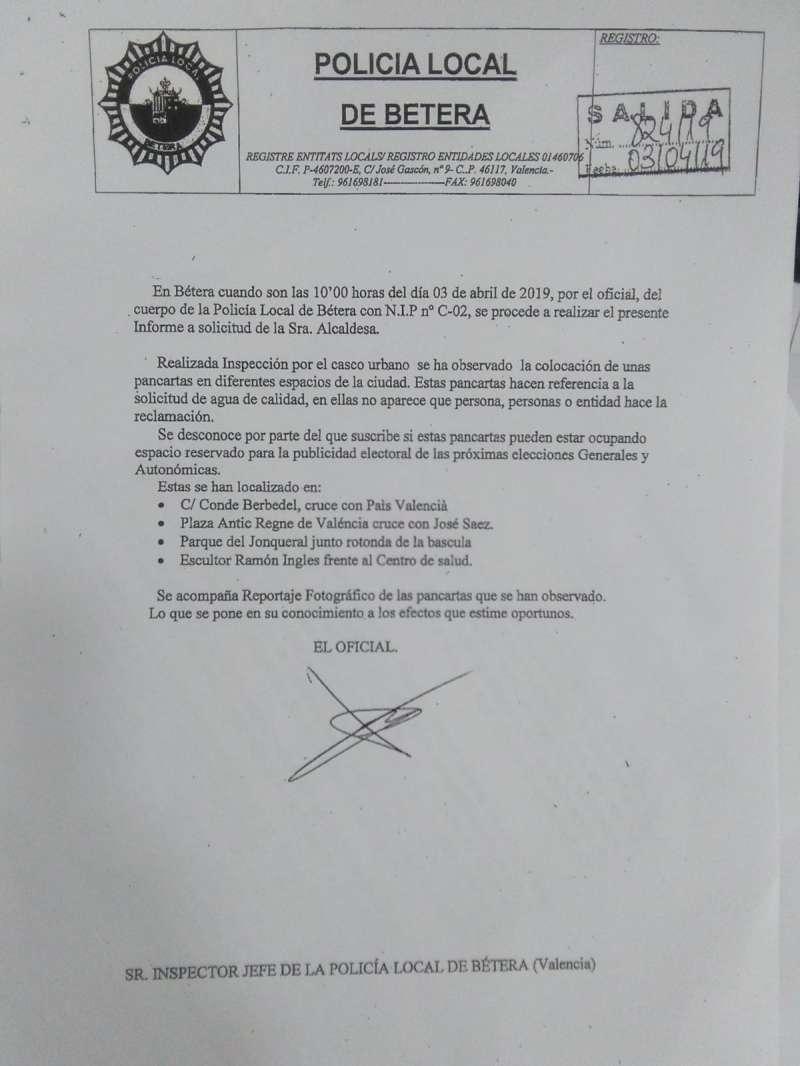 Informe de la Policía Local de Bétera./epda