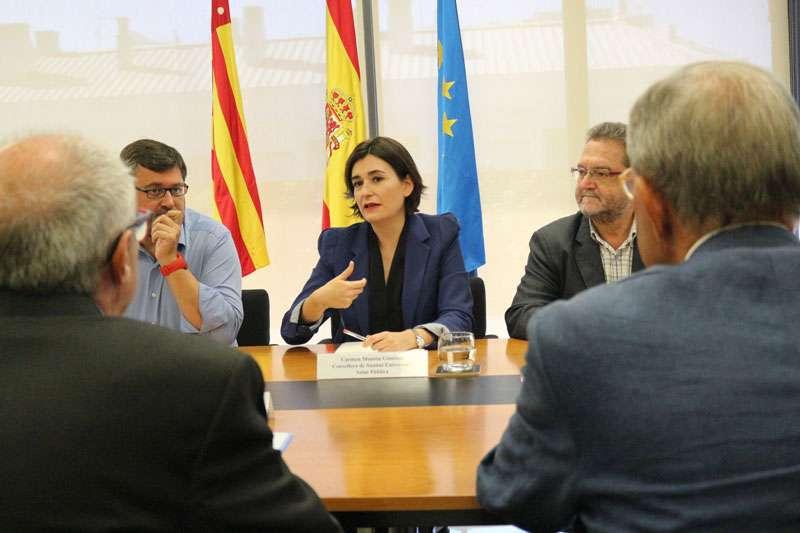 Imagen de la consellera ,Carmen Montón, durante la reunión