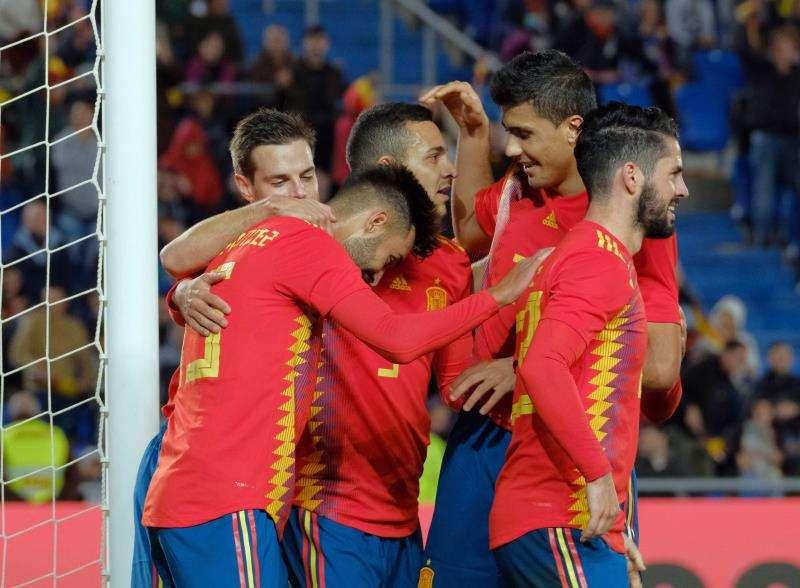 La selección española de fútbol durante su último partido amistoso, la semana pasada ante Bosnia. EFE