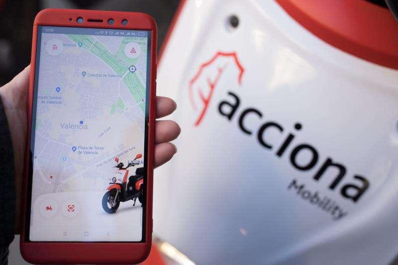 Aplicación para el alquiles de las motos de Acciona, en una imagen de la empresa.