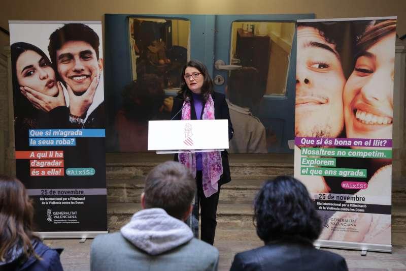Mónica Oltra en la presentación de la campaña. EPDA