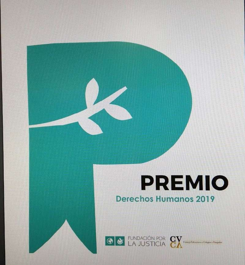 Cartel del Premio Derechos Humanos 2019 que otorgan el Consejo Valenciano de Colegios de Abogados (CVCA) y la Fundación por la Justicia (FxJ), dotado con 12.500 euros. EFE