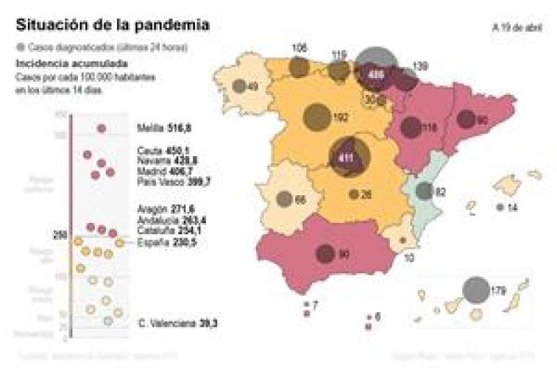 Mapa de coronavirus de España a 19 de abril. EFE