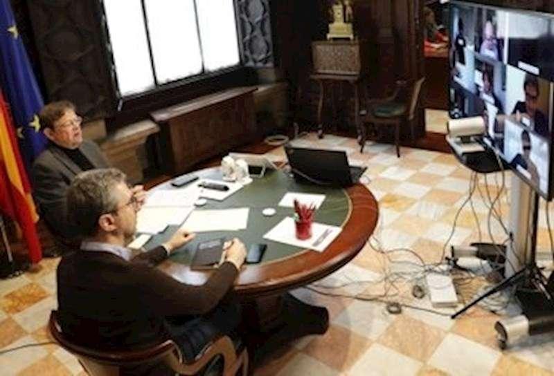 Momento de la videoconferencia, en una imagen difundida en redes sociales por la Generalitat.