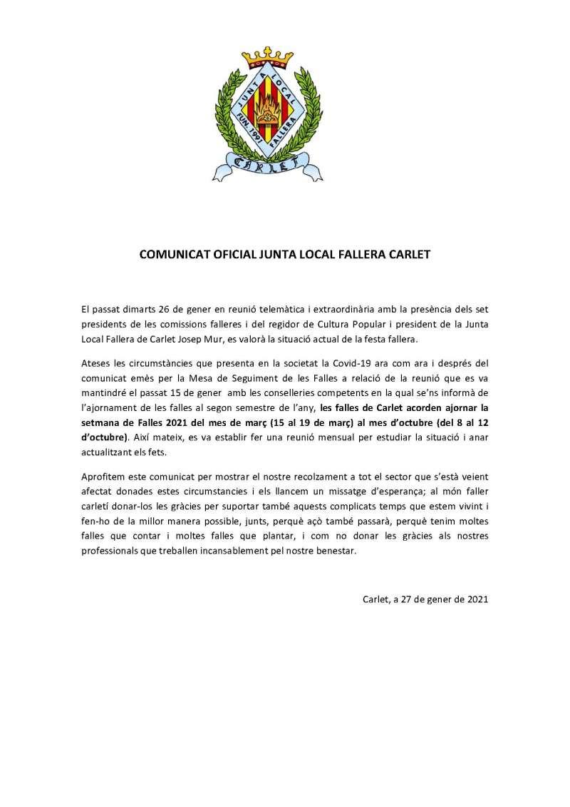 Comunitat Junta Local Fallera de Carlet./EPDA