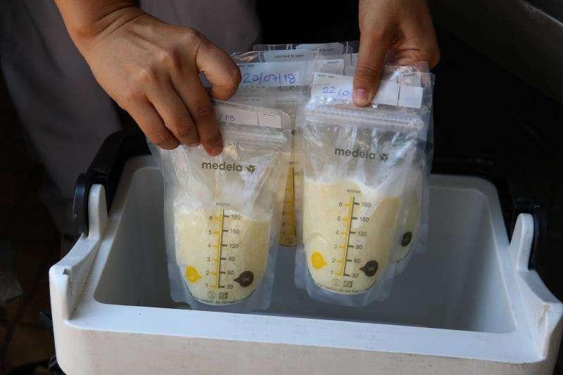 Una enfermera sostiene bolsas de leche materna conservadas. EFE/Archivo