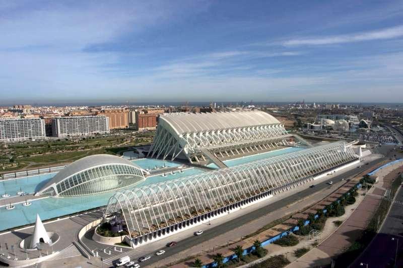 Imagen aérea de la Ciudades de las Artes y las Ciencias de Valencia, obra de Calatrava.
