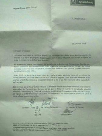 Carta emitida por ThyssenKrupp Steel Europe. FOTO: EPDA
