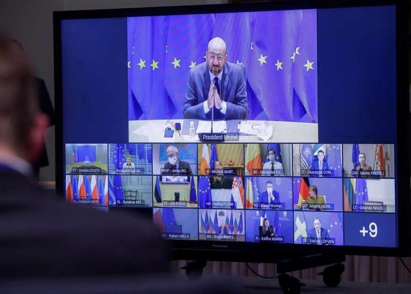 El presidente del Consejo Europeo, Charles Michel, durante la celebración de la Cumbre por videoconferencia de Jefes de Estado y de Gobierno para la contención del coroanvirus. EFE