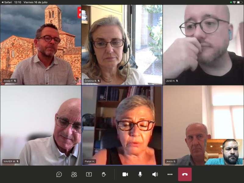 Imatge de la reunió telemàtica de hui