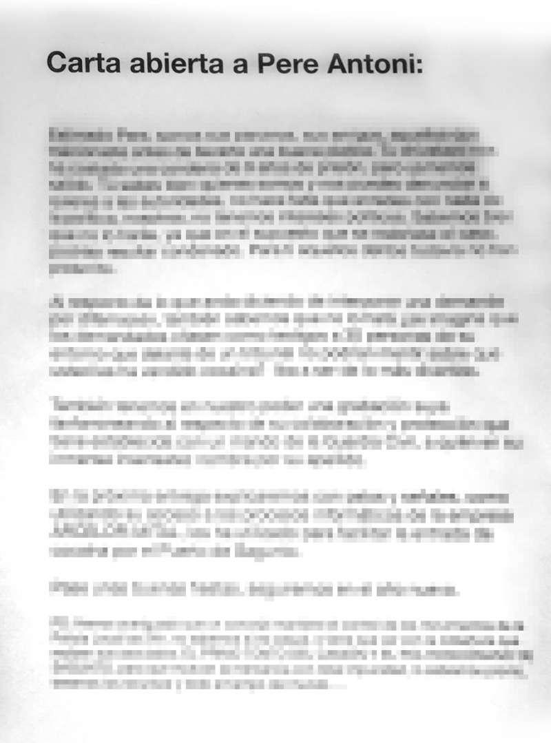 Contenido pixelado del panfleto. EPDA