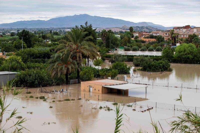 El rio Segura, desbordado de su cauce por las intensas lluvias, en una imagen de este sábado. EFE/Marcial Guillén