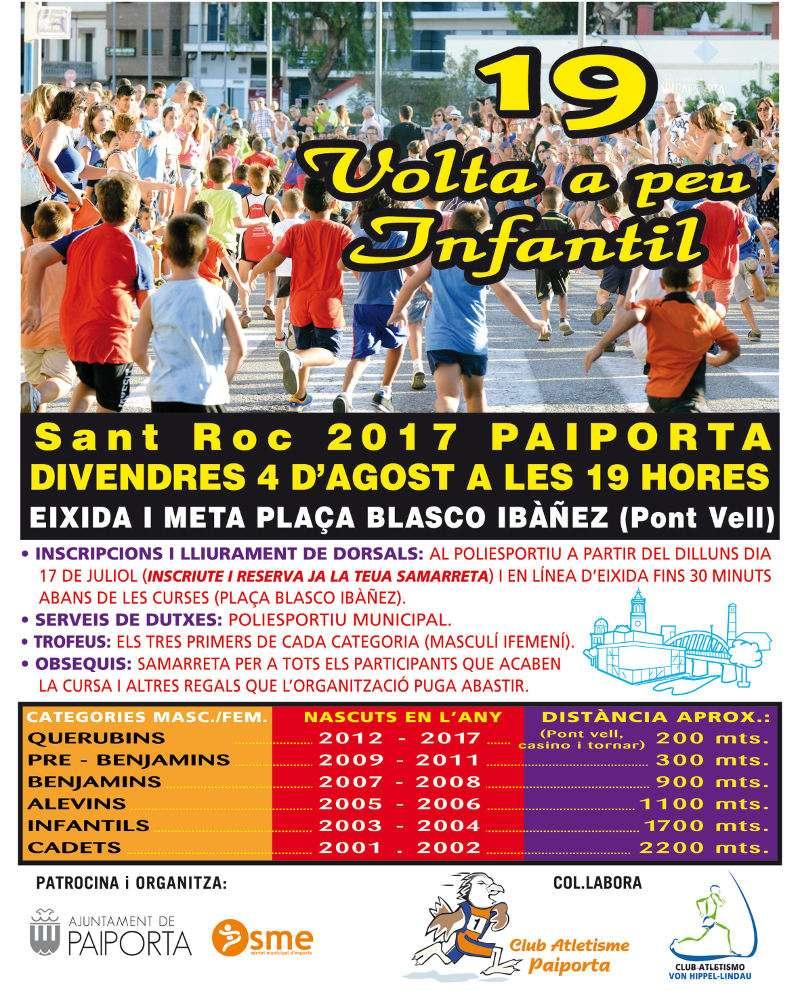 Cartell de la 19a Volta a Peu Infantil de Paiporta. EPDA