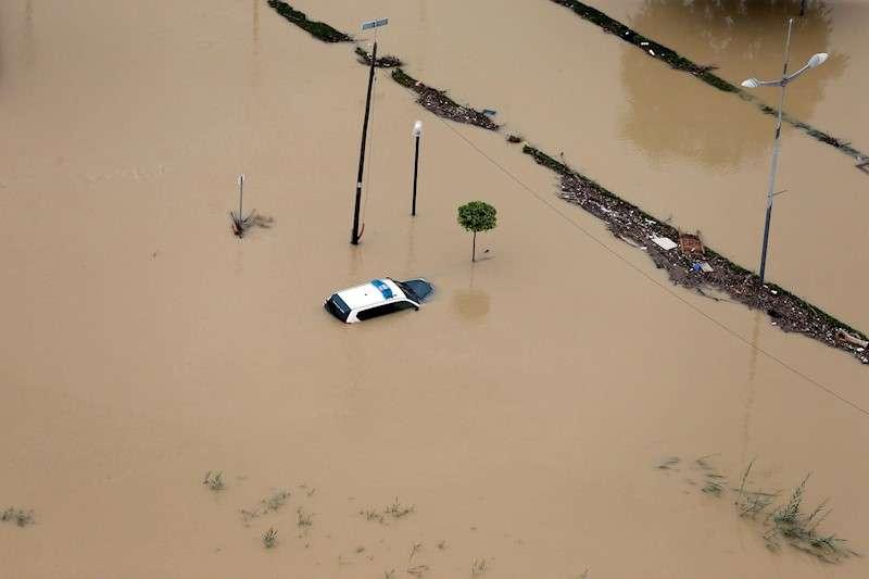 Imagen aérea de la ciudad de Dolores (Alicante) del 14/09/2019, inundada a causa del desbordamiento del río Segura por la Gota Fría.EFE/ Manuel Lorenzo/Archivo