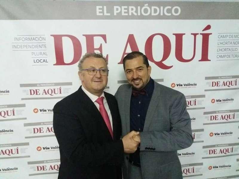 José Salvador Murgui junto a Pere Valenciano en la última entrega de premios de Camp de Morvedre de El Periódico de Aquí. //EPDA