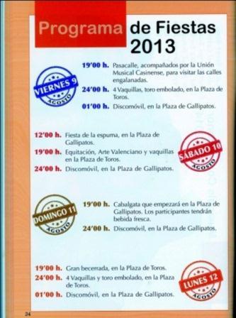 Programa de Fiestas 2013 Casinos