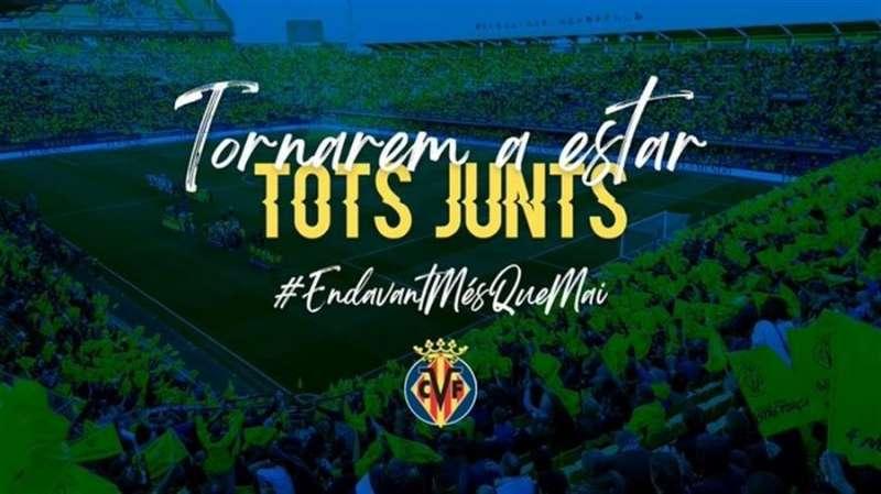 Mensaje difundido por el Villarreal CF en redes sociales.