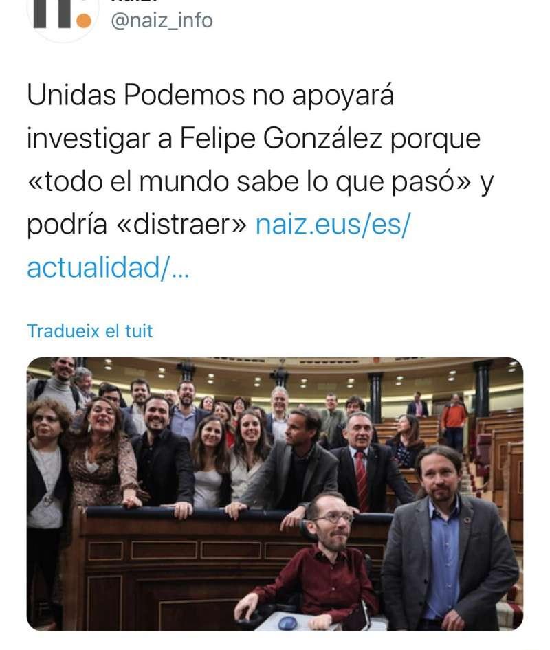 Tuit utilizado por Grezzi. EPDA