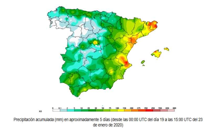 Precipitaciones del día 19 al 23. EPDA
