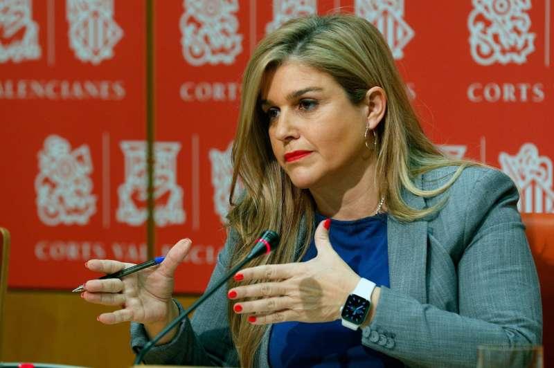 La secretaria general del PPCV, Eva Ortiz, en Les Corts Valencianes. EFE/ Kai Försterling/Archivo