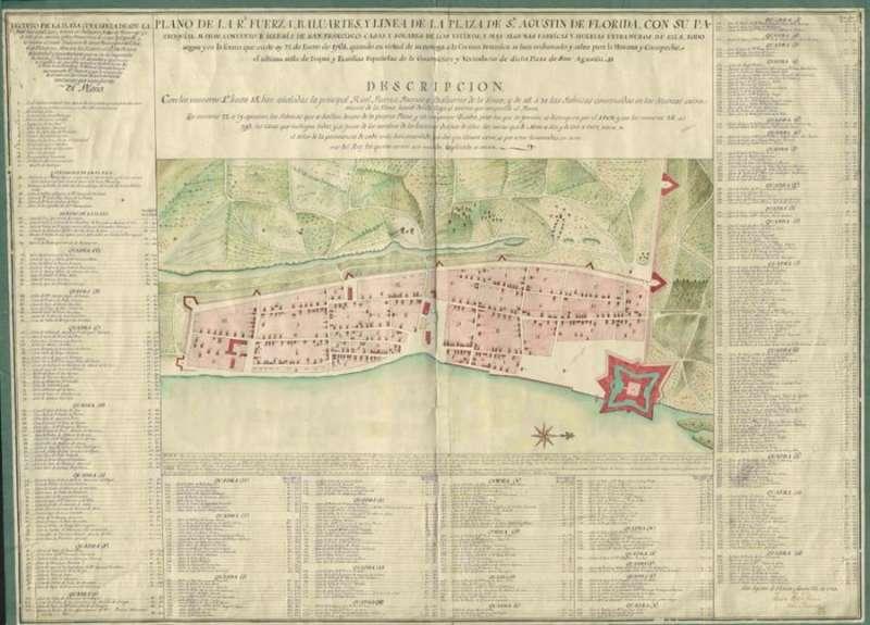 Plano de San Agustín de la Florida, fechado en 1764, del Archivo del Ministerio de Defensa, cedido por la UPV. EFE