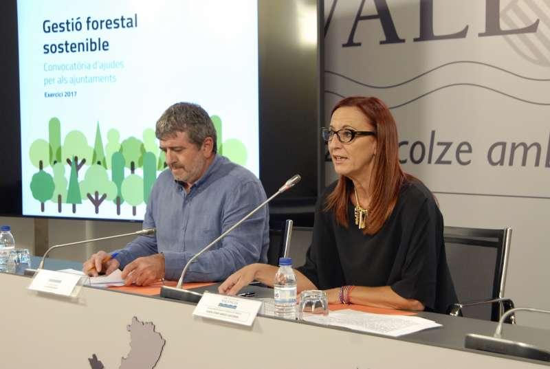 El diputat Josep Bort i la vicepresidenta, Maria Josep Amigó, durant la presentació de les ajudes per a la gestió forestal.