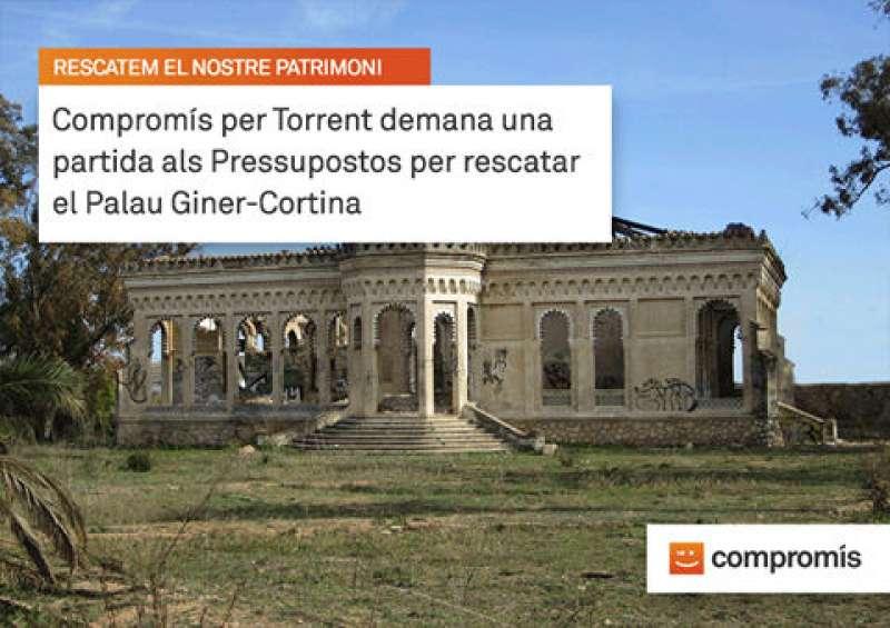 Imatge del Palau Giner-Cortina que mostra en Facebook Compromís per Torrent. EPDA