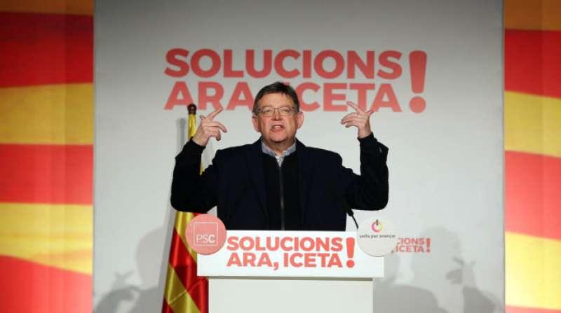 Ximo Puig, el vecino de Morella, apoyando a Miquel Iceta. FOTO JORDI PLAY
