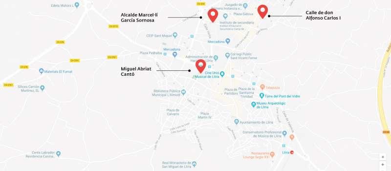 Imagen de las calles que serán renombradas con nombres de mujer que han influenciado de forma positiva en la capital del Camp de Túria./ epda
