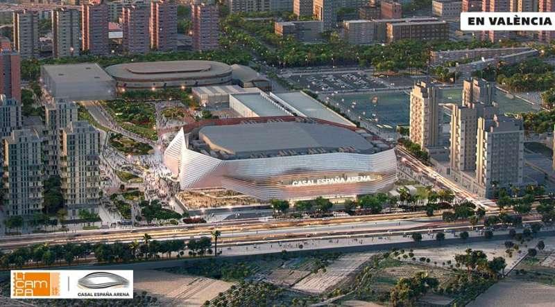 Imagen del cartel del recinto Arena que Juan Roig construirá en València. EFE