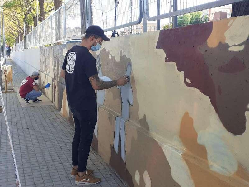 Participantes en el taller de graffiti en Bétera. EPDA