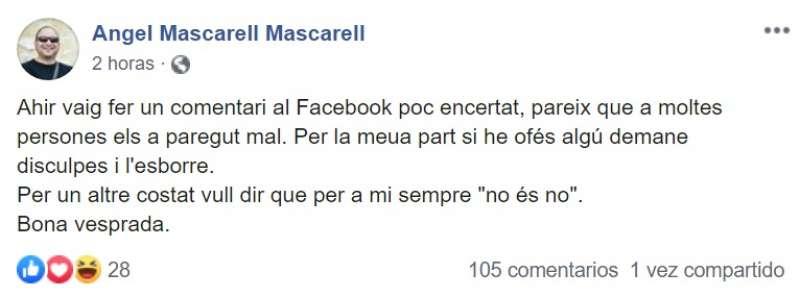 Ángel Mascarell pide disculpas en Facebook por su comentario a Álvarez de Toledo. EPDA