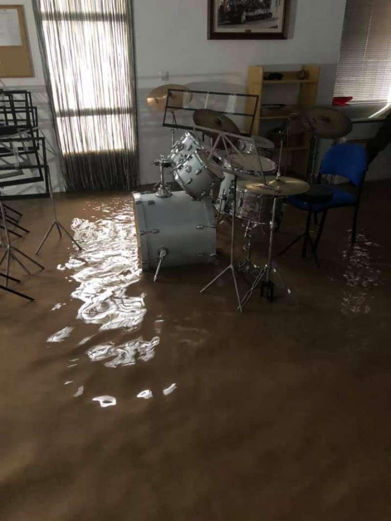 Así quedaron las instalaciones de la escuela de música tras la tormenta