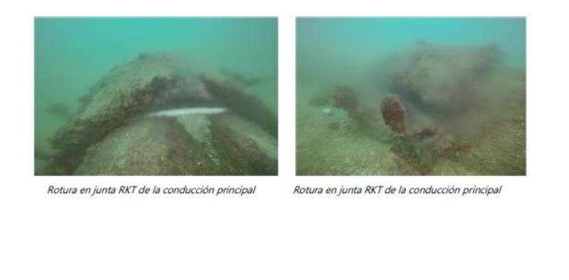 Imágenes de la rotura del emisario submarino de Vera. EFE/PP