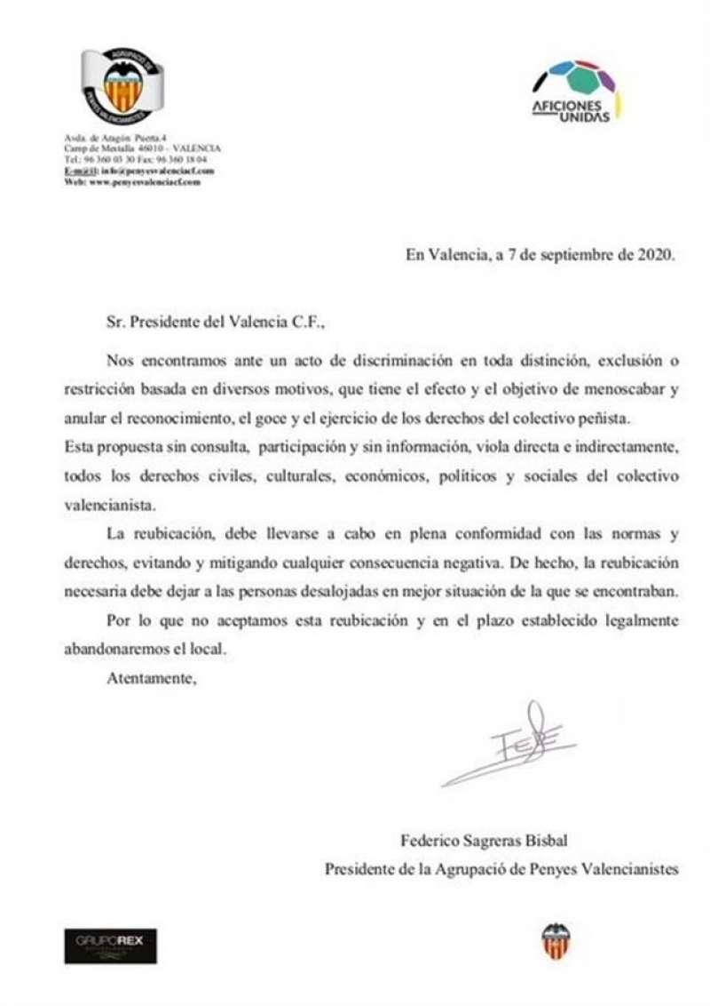 Respuesta de las Peñas al Valencia CF, en una nota compartida en redes sociales.