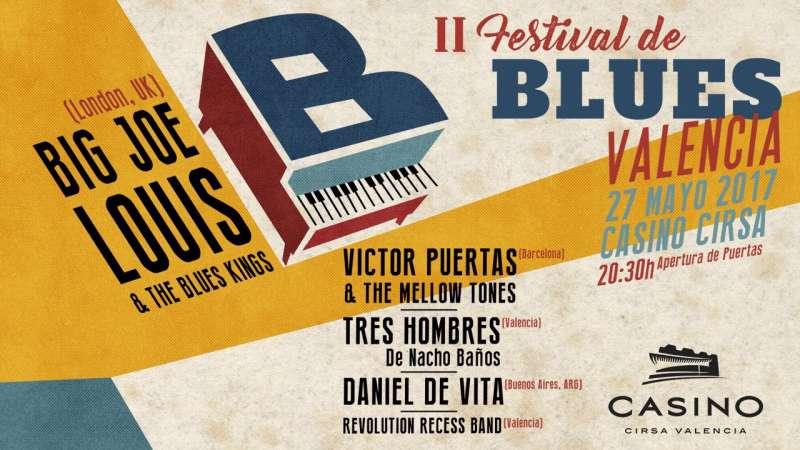 Cartel del Festival Blues de Casino Cirsa Valencia.