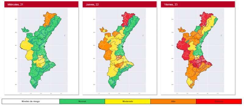Mapa de la previsión de temperaturas en los próximos días en la Comunitat Valenciana