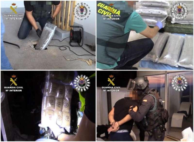 Fotografías facilitadas por la Guardia Civil que muestran a un detenido y la incautación de drogas durante la operación que ha desmantelado una red que llevaba droga de Melilla a Valencia en dobles fondos de vehículos.