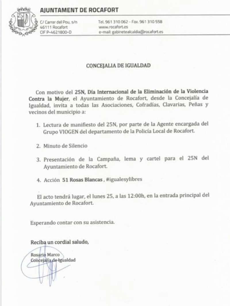 Comunicado de la concejala de Ciudadanos, Rosario Marco.