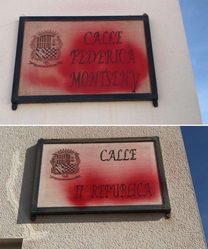 Nomenclaturas de calles pintadas