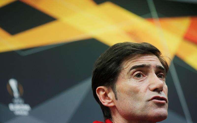 El entrenador del Valencia, Marcelino García Toral, durante la rueda de prensa ofrecida ante el partido de la Liga Europa con el Krasnodar. EFE