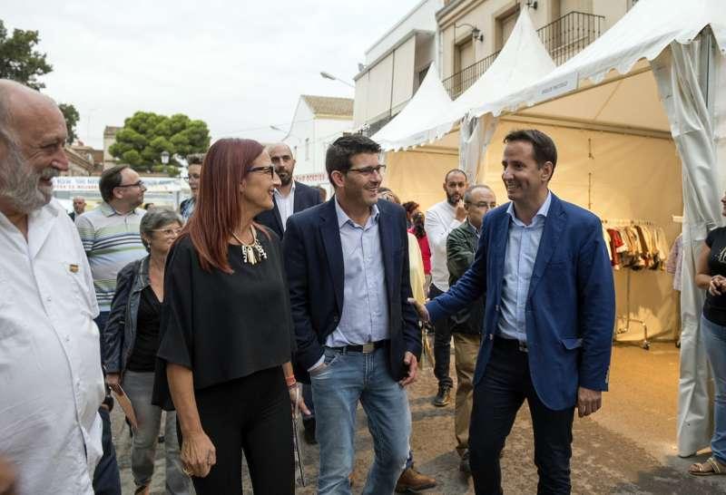 Jorge Rodríguez, presidente de la Diputación junto a la vicepresidenta, Mª Josep Amigò y el Alcalde de Foios, Sergi Ruiz.