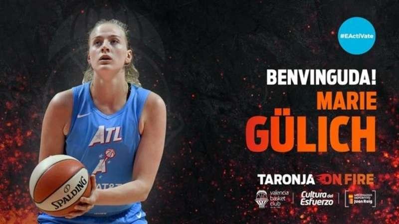 Imagen del tuit con el que el Valencia Basket ha dado la bienvenida a su nueva jugadora del equipo femenino.
