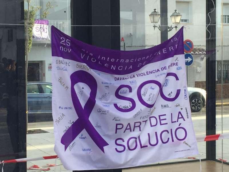 Pancarta en una manifestación en contra de la violencia de género.