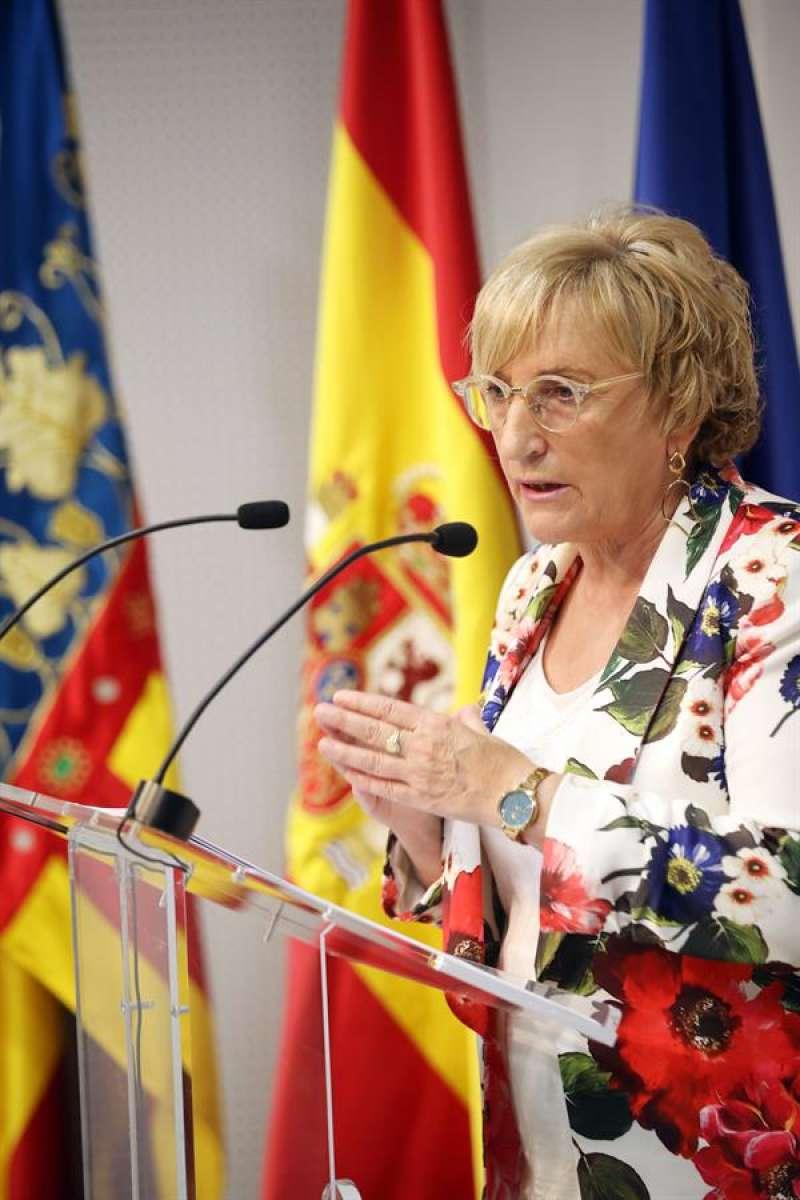 La consellera de Sanidad, Ana Barceló, durante la rueda de prensa ofrecida este jueves para informar de los últimos datos sobre la pandemia. EFE/Ana Escobar