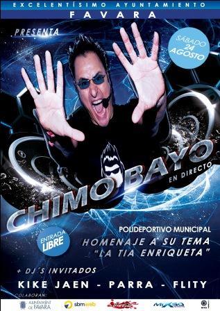 Cartel espectáculo Chimo Bayo en Favara, el 24 de agosto. Foto: EPDA