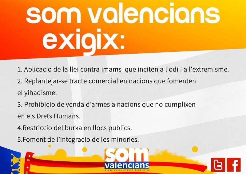 Las cinco medidas contra el yihadismo de Som Valencians.