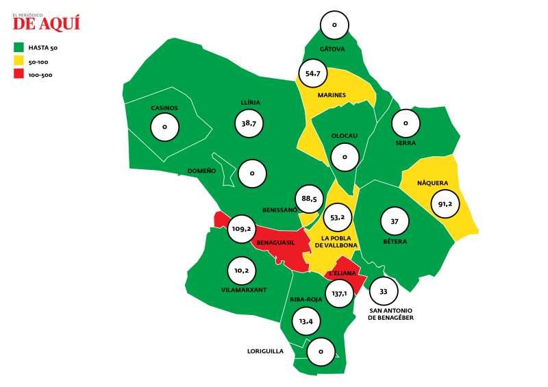 Mapa de incidencia acumulada publicada el 23 de abril. EPDA.