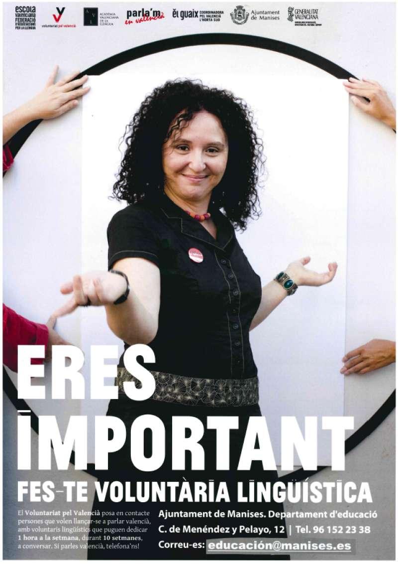 Cartell de voluntariat lingüístic a Manises. EPDA
